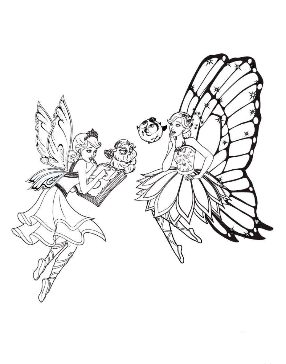 раскраска для детей барби феи с питомцами скачать бесплатно