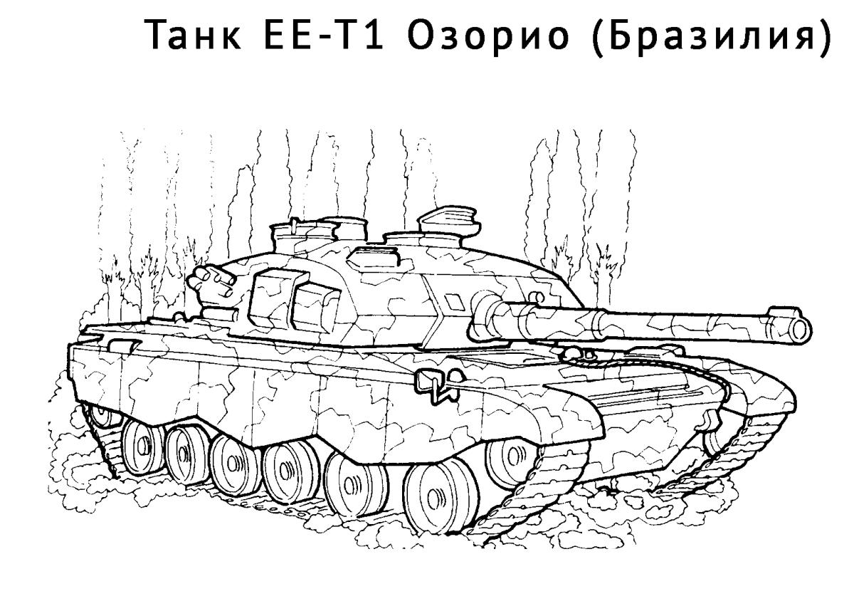 картинка раскраска танк ее T1 озорио танки распечатать