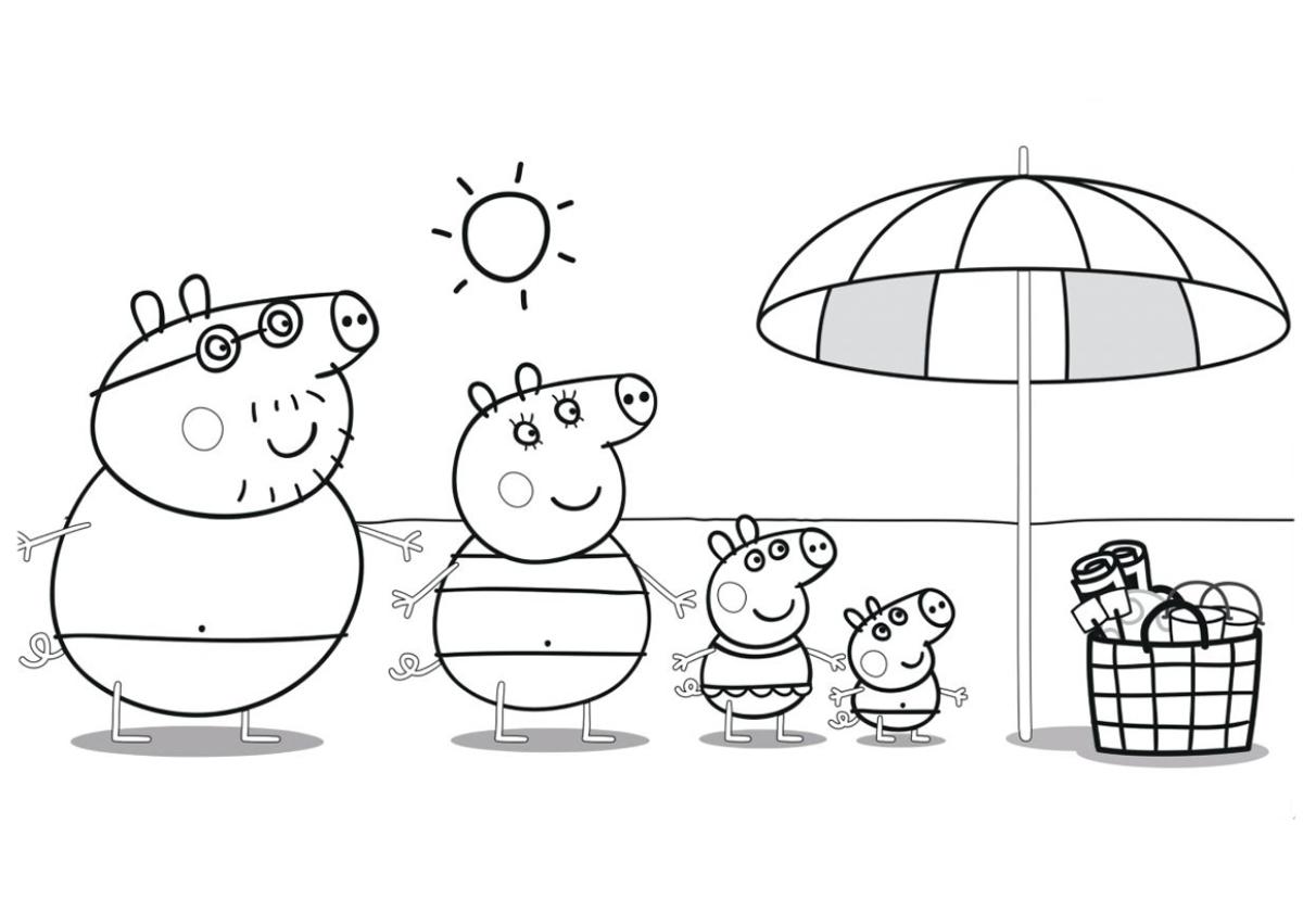 раскраска для детей пеппа с семьёй на пляже свинка пеппа