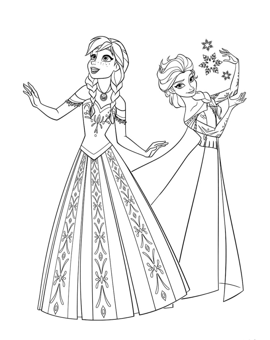 раскраска для детей принцессы анна и эльза скачать бесплатно