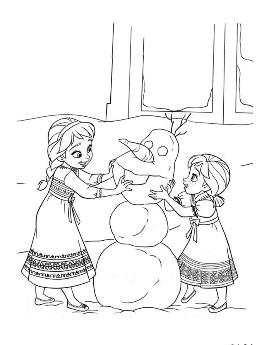 раскраска для детей анна и эльза лепят снеговика распечатать
