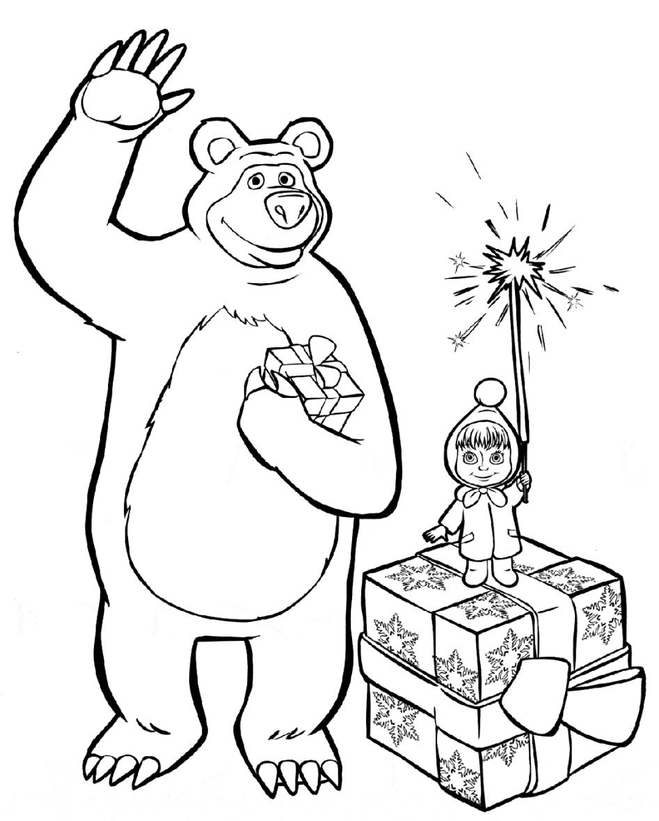 Картинка маша и медведь раскраска