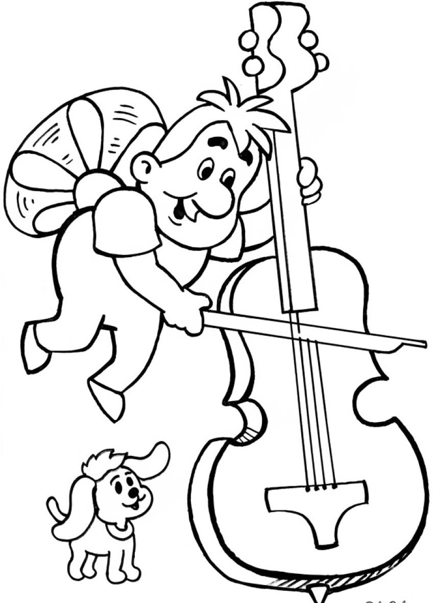 Картинка музыка раскраска