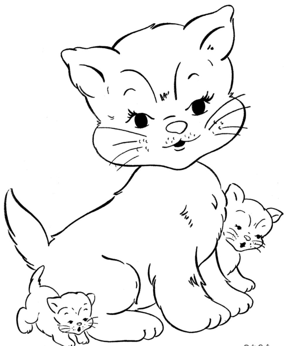 раскраска для детей кошка с котятами коты кошки и котята