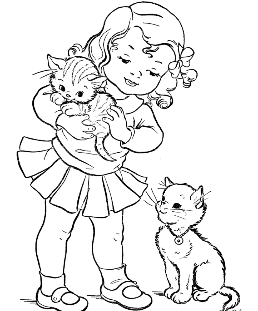 раскраска для детей котенок на руках у девочки коты кошки