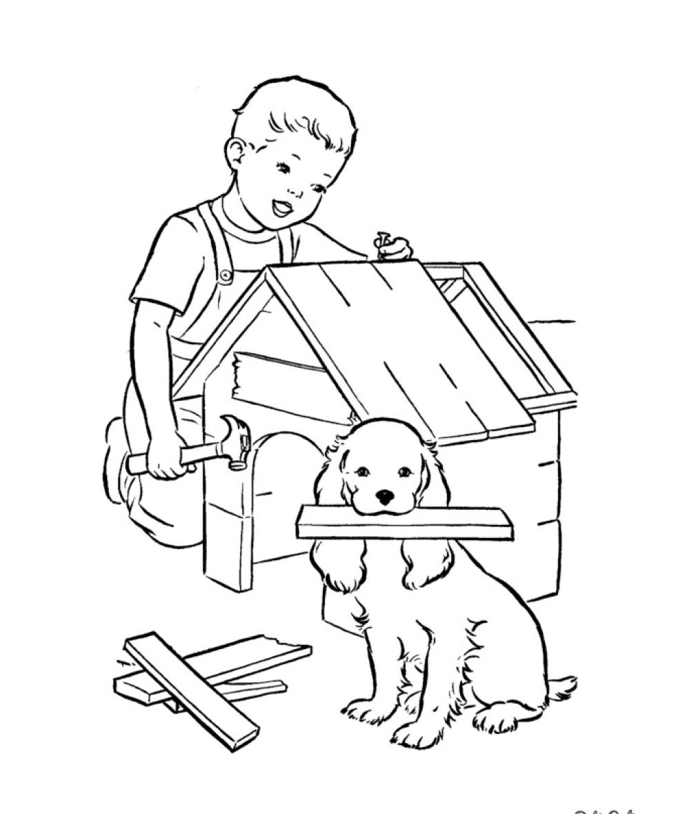 Собака с будкой картинки для детей раскраски