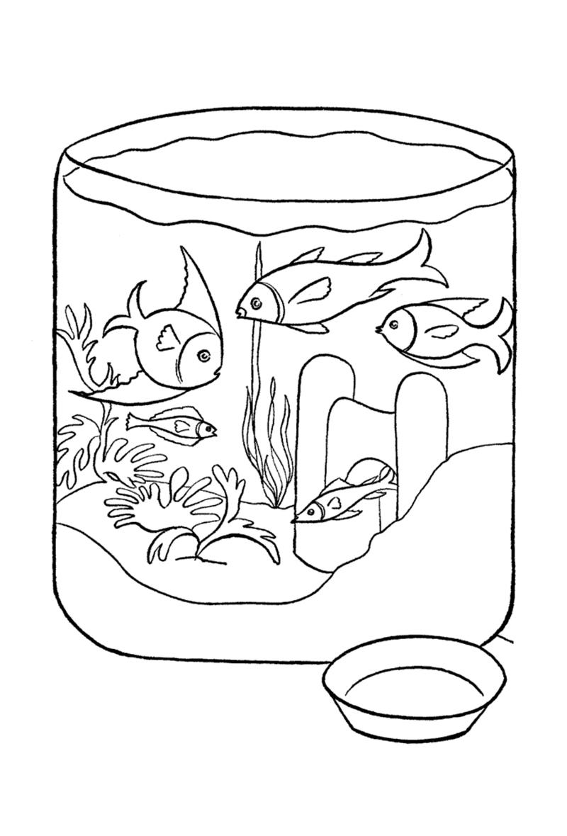 десятку рисунок аквариум с рыбками и водорослями для