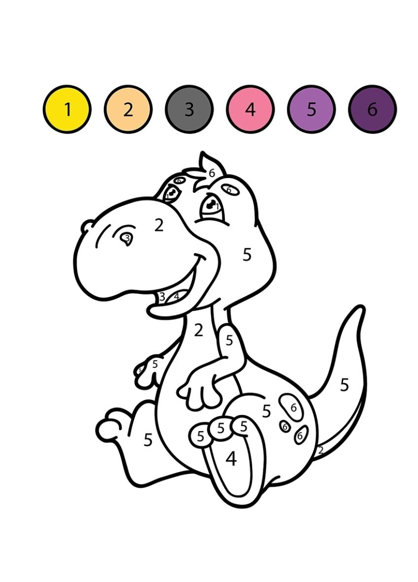 раскраска для детей динозавр по цифрам раскраски по цифрам