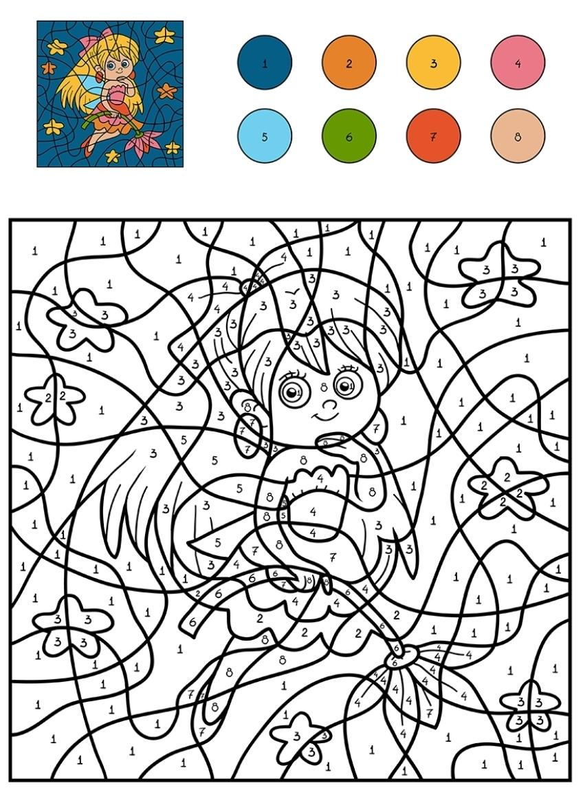 раскраска для детей фея с цветами по цифрам распечатать