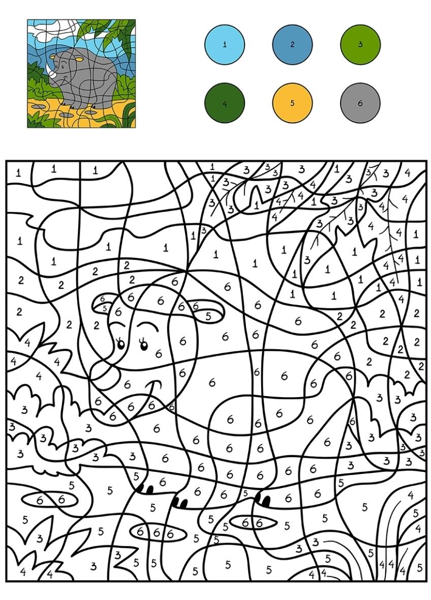 раскраска для детей носорог на полянке по цифрам раскраски