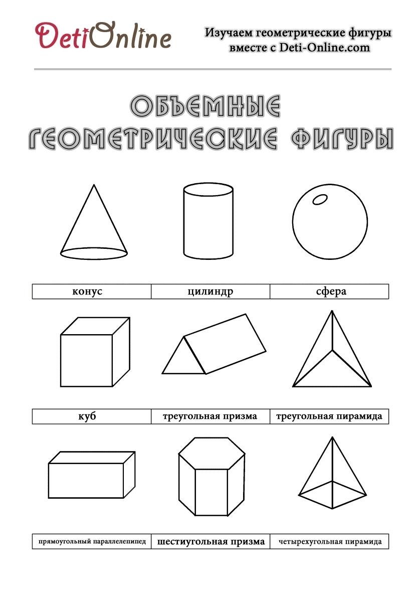 объемные геометрические фигуры с названиями раскраска