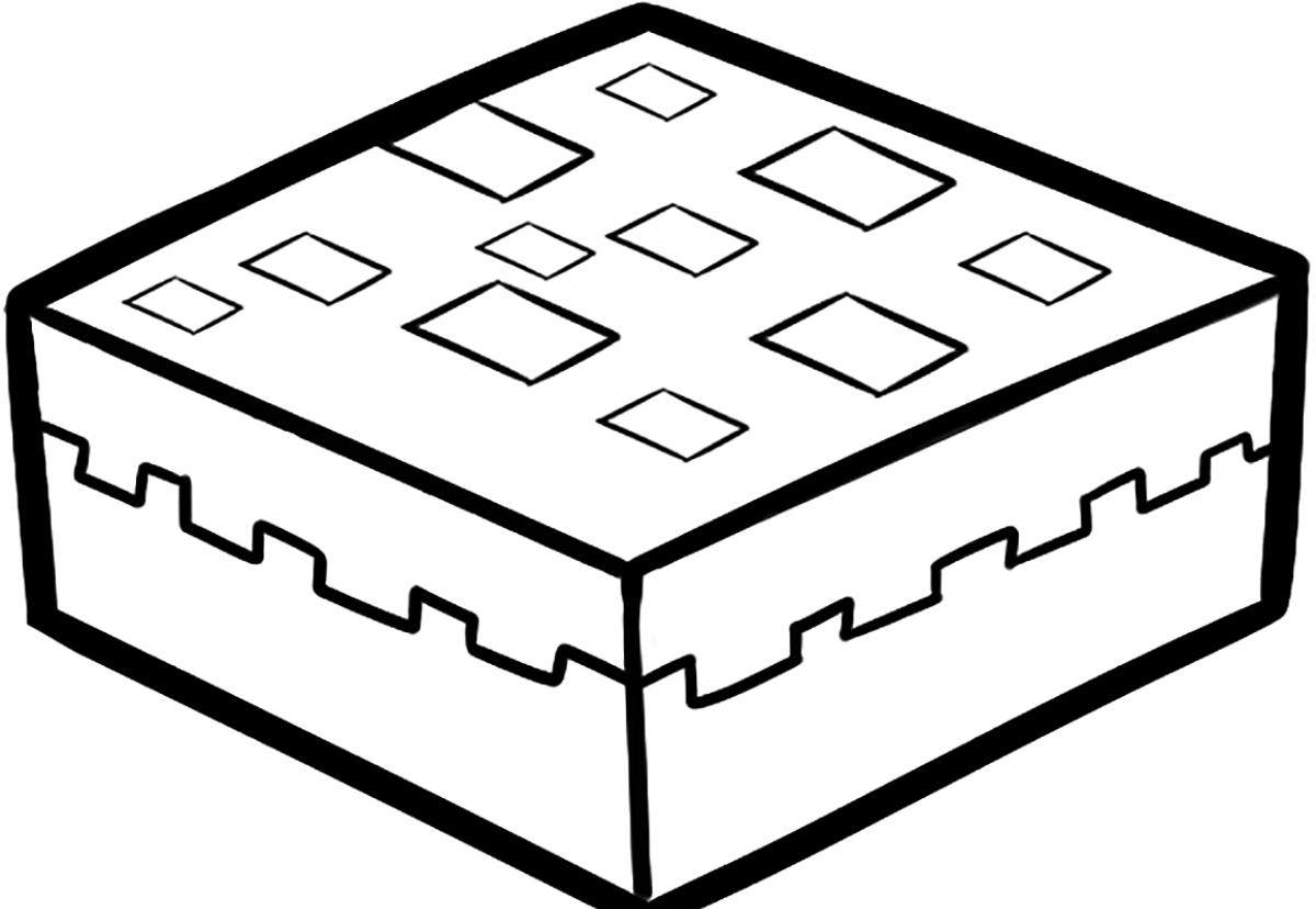 распечатать онлайн картинку раскраску пирог Minecraft