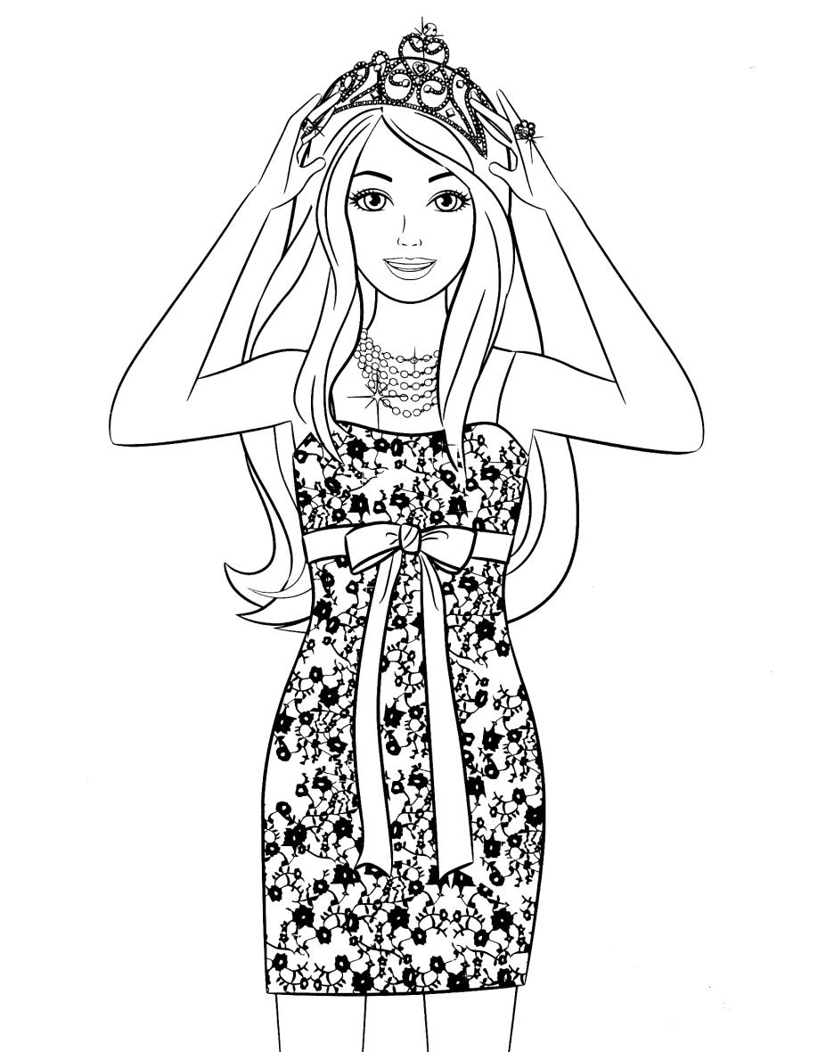 раскраска для детей барби в стильном платье и короне скачать