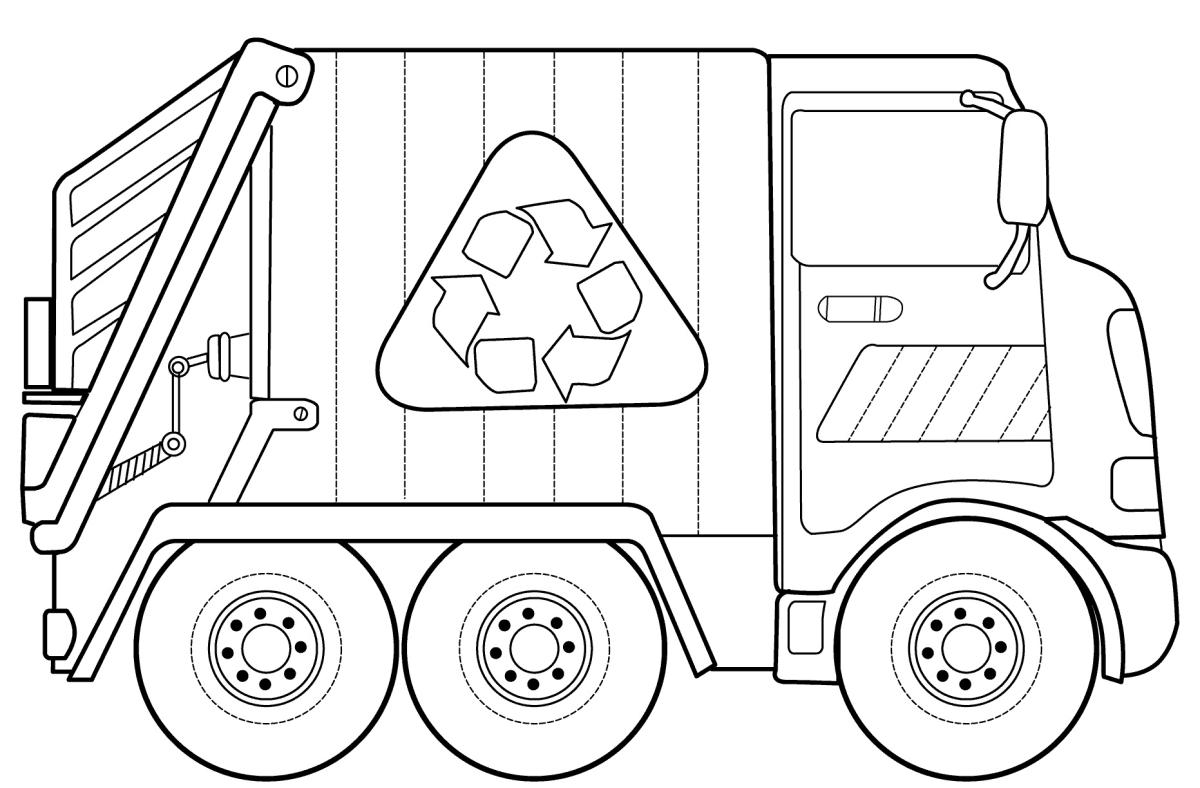раскраска мусоровоз скачать и распечатать детское время